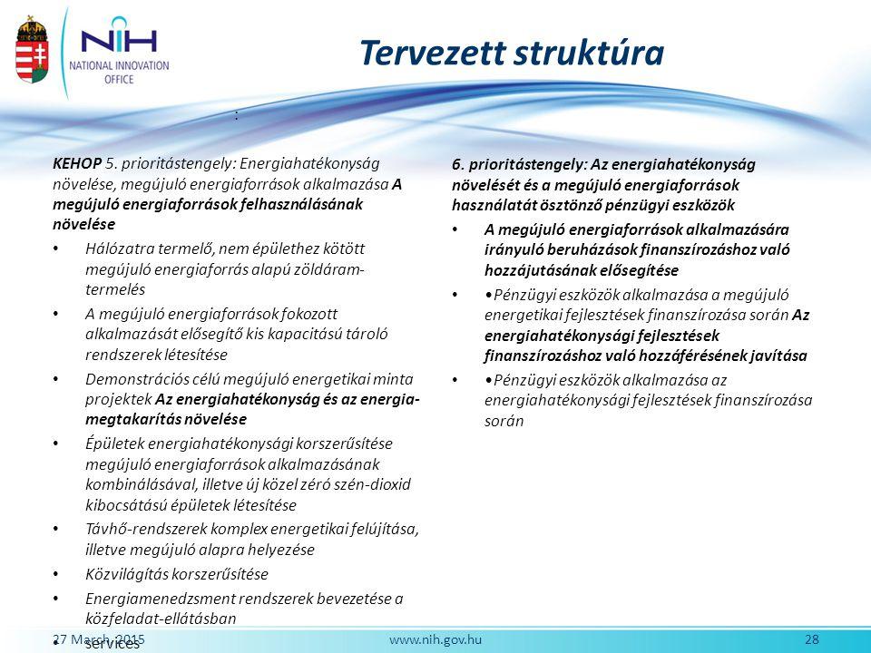 Tervezett struktúra : KEHOP 5. prioritástengely: Energiahatékonyság növelése, megújuló energiaforrások alkalmazása A megújuló energiaforrások felhaszn