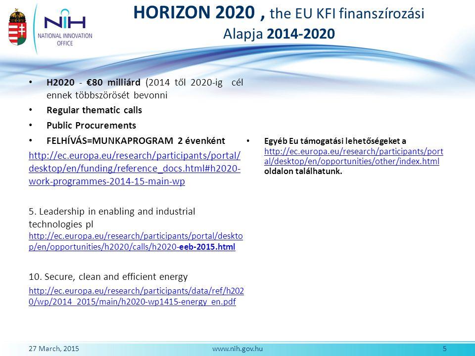 HORIZON 2020, the EU KFI finanszírozási Alapja 2014-2020 H2020 - €80 milliárd (2014 től 2020-ig cél ennek többszörösét bevonni Regular thematic calls