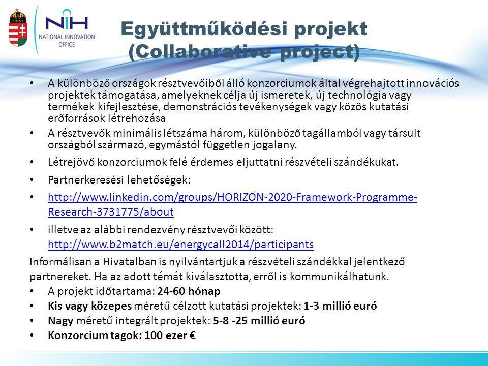 Együttműködési projekt (Collaborative project) A különböző országok résztvevőiből álló konzorciumok által végrehajtott innovációs projektek támogatása