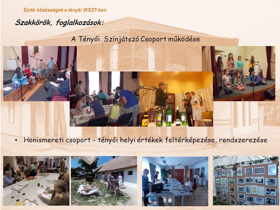 Építő közösségek a tényői IKSZT-ben Szakkörök, foglalkozások: A Tényői Színjátszó Csoport működése Honismereti csoport – tényői helyi értékek feltérké