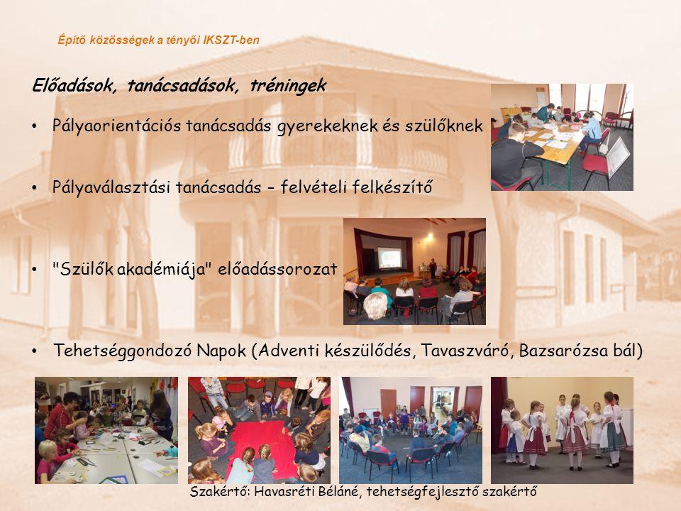Építő közösségek a tényői IKSZT-ben Előadások, tanácsadások, tréningek Pályaorientációs tanácsadás gyerekeknek és szülőknek Pályaválasztási tanácsadás