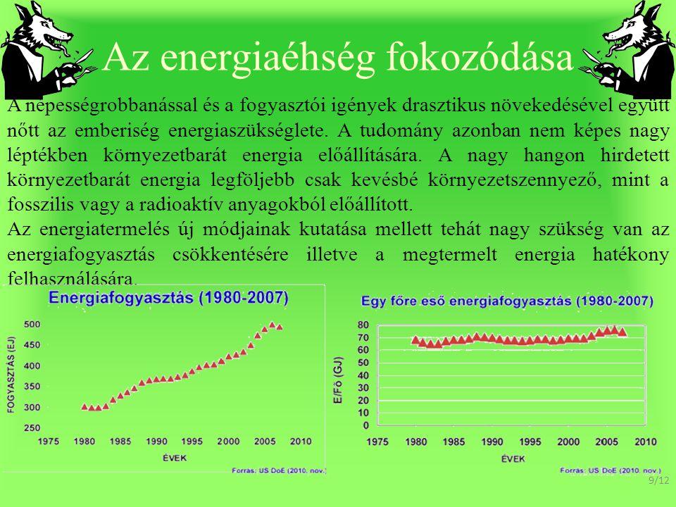 Az energiaéhség fokozódása A népességrobbanással és a fogyasztói igények drasztikus növekedésével együtt nőtt az emberiség energiaszükséglete.