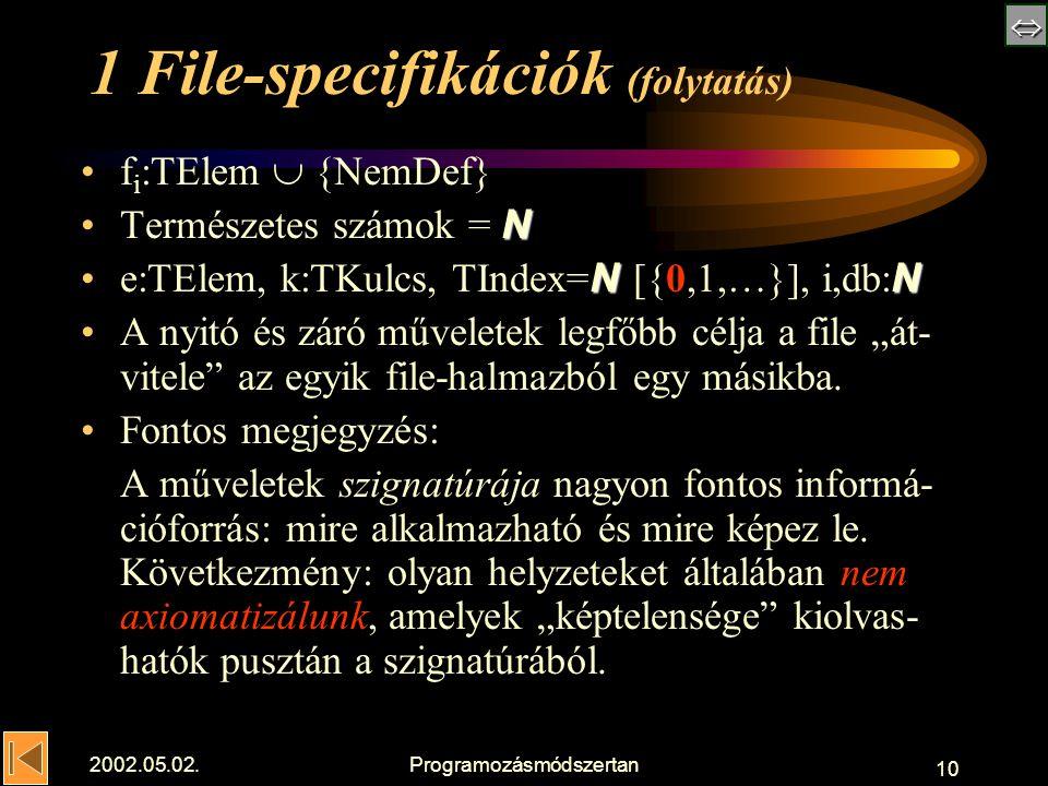""" 2002.05.02.Programozásmódszertan 10 1 File-specifikációk (folytatás) f i :TElem  {NemDef} NTermészetes számok = N NNe:TElem, k:TKulcs, TIndex= N [{0,1,…}], i,db: N A nyitó és záró műveletek legfőbb célja a file """"át- vitele az egyik file-halmazból egy másikba."""