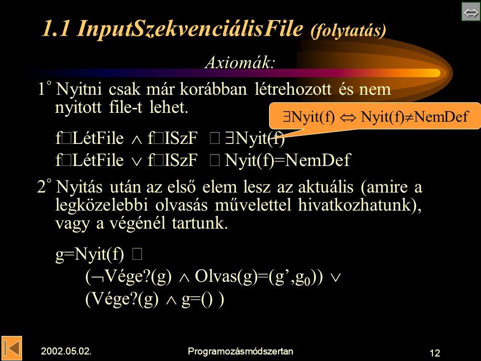  2002.05.02.Programozásmódszertan 12 1.1 InputSzekvenciálisFile (folytatás) Axiomák: 1 ° Nyitni csak már korábban létrehozott és nem nyitott file-t lehet.