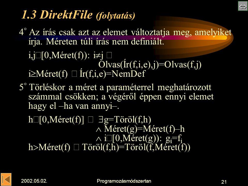  2002.05.02.Programozásmódszertan 21 1.3 DirektFile (folytatás) 4 ° Az írás csak azt az elemet változtatja meg, amelyiket írja.