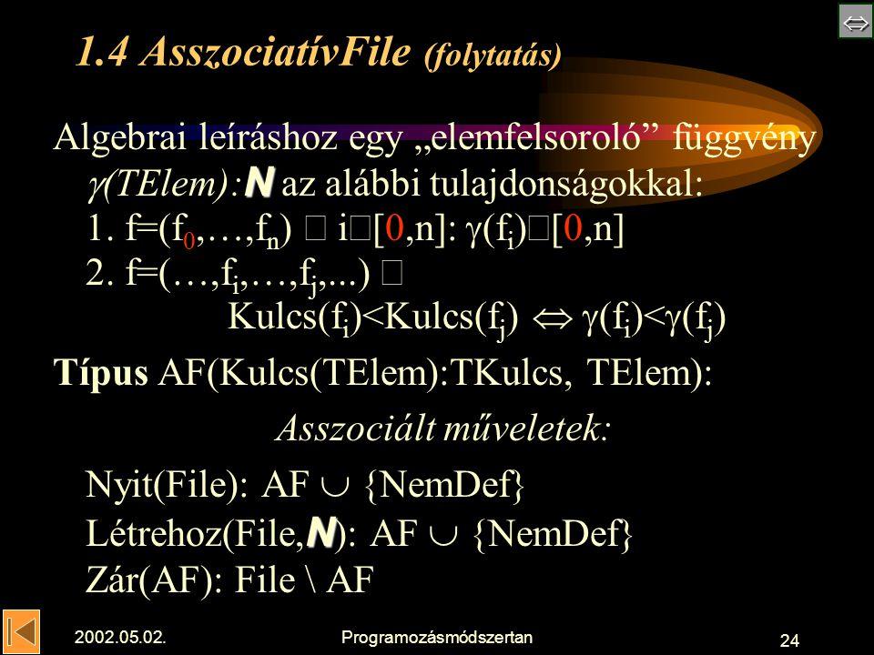 """ 2002.05.02.Programozásmódszertan 24 1.4 AsszociatívFile (folytatás) N Algebrai leíráshoz egy """"elemfelsoroló függvény  (TElem): N az alábbi tulajdonságokkal: 1."""