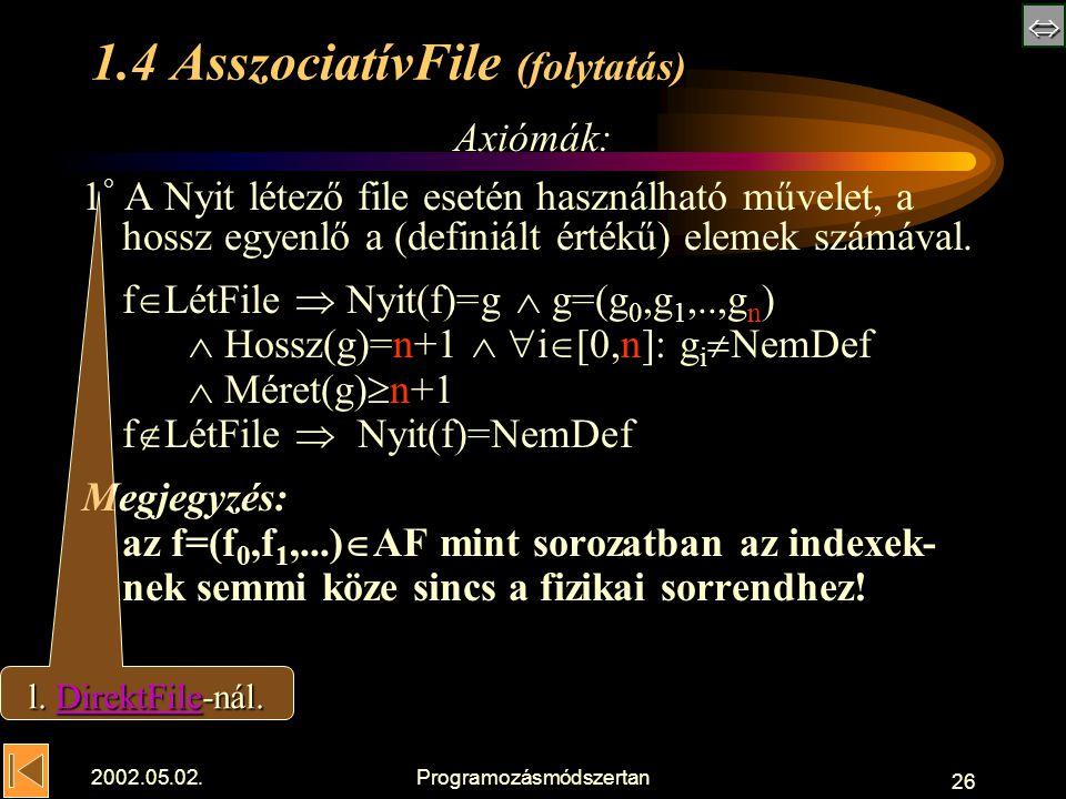  2002.05.02.Programozásmódszertan 26 1.4 AsszociatívFile (folytatás) Axiómák: 1 ° A Nyit létező file esetén használható művelet, a hossz egyenlő a (definiált értékű) elemek számával.