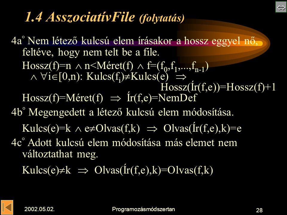  2002.05.02.Programozásmódszertan 28 1.4 AsszociatívFile (folytatás) 4a ° Nem létez ő kulcsú elem írásakor a hossz eggyel nő, feltéve, hogy nem telt be a file.