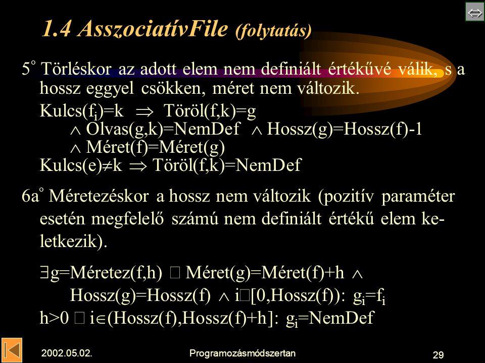  2002.05.02.Programozásmódszertan 29 1.4 AsszociatívFile (folytatás) 5 ° Törléskor az adott elem nem definiált értékűvé válik, s a hossz eggyel csökken, méret nem változik.