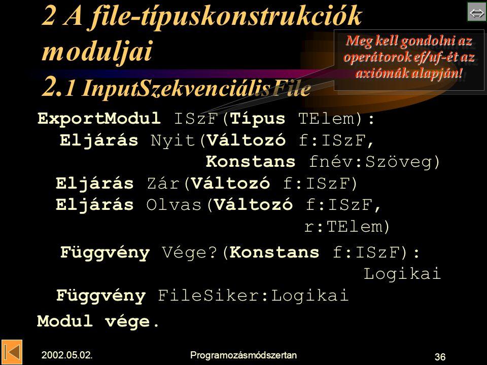  2002.05.02.Programozásmódszertan 36 2 A file-típuskonstrukciók moduljai 2.