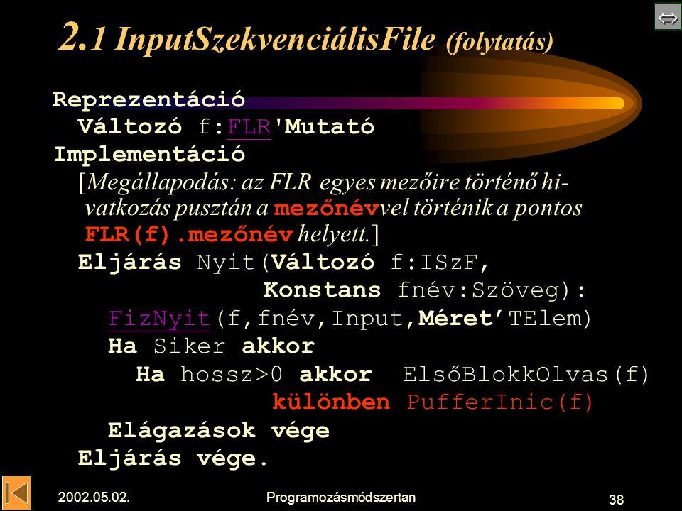  2002.05.02.Programozásmódszertan 38 2.