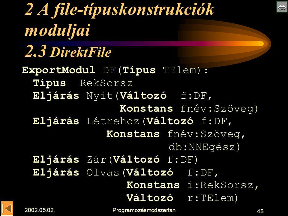 2002.05.02.Programozásmódszertan 45 2 A file-típuskonstrukciók moduljai 2.3 DirektFile ExportModul DF(Típus TElem): TípusRekSorsz Eljárás Nyit(Változó f:DF, Konstans fnév:Szöveg) Eljárás Létrehoz(Változó f:DF, Konstans fnév:Szöveg, db:NNEgész) Eljárás Zár(Változó f:DF) Eljárás Olvas(Változó f:DF, Konstans i:RekSorsz, Változó r:TElem)