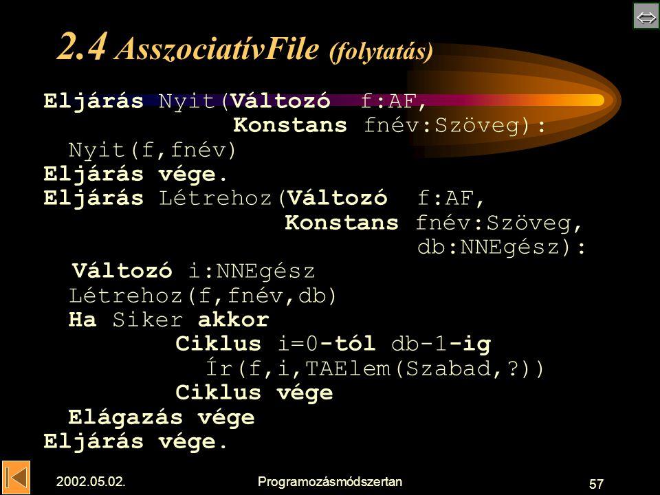  2002.05.02.Programozásmódszertan 57 2.4 AsszociatívFile (folytatás) Eljárás Nyit(Változó f:AF, Konstans fnév:Szöveg): Nyit(f,fnév) Eljárás vége.