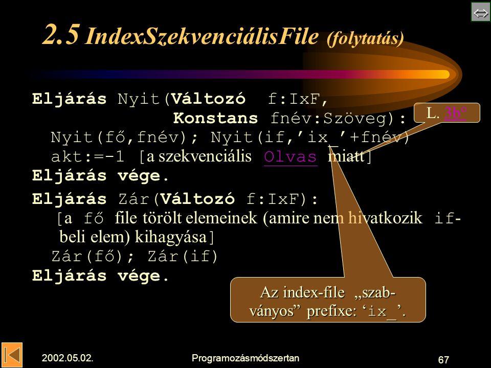  2002.05.02.Programozásmódszertan 67 2.5 IndexSzekvenciálisFile (folytatás) Eljárás Nyit(Változó f:IxF, Konstans fnév:Szöveg): Nyit(fő,fnév); Nyit(if,'ix_'+fnév) akt:=-1 [ a szekvenciális Olvas miatt ]Olvas Eljárás vége.