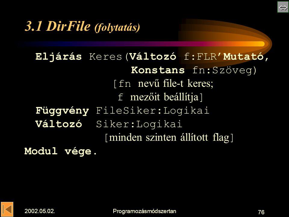 2002.05.02.Programozásmódszertan 76 3.1 DirFile (folytatás) Eljárás Keres(Változó f:FLR'Mutató, Konstans fn:Szöveg) [fn nevű file-t keres; f mezőit beállítja ] Függvény FileSiker:Logikai Változó Siker:Logikai [ minden szinten állított flag ] Modul vége.