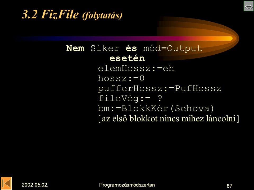  2002.05.02.Programozásmódszertan 87 3.2 FizFile (folytatás) Nem Siker és mód=Output esetén elemHossz:=eh hossz:=0 pufferHossz:=PufHossz fileVég:= .
