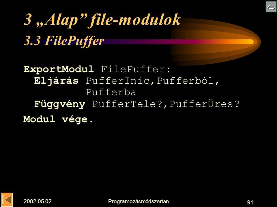 " 2002.05.02.Programozásmódszertan 91 3 ""Alap file-modulok 3.3 FilePuffer ExportModul FilePuffer: Eljárás PufferInic,Pufferból, Pufferba Függvény PufferTele ,PufferÜres."