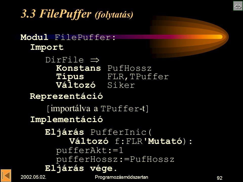  2002.05.02.Programozásmódszertan 92 3.3 FilePuffer (folytatás) Modul FilePuffer: Import DirFile  Konstans PufHossz Típus FLR,TPuffer Változó Siker Reprezentáció [ importálva a TPuffer -t ] Implementáció Eljárás PufferInic( Változó f:FLR Mutató): pufferAkt:=1 pufferHossz:=PufHossz Eljárás vége.