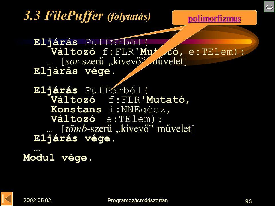 """ 2002.05.02.Programozásmódszertan 93 3.3 FilePuffer (folytatás) Eljárás Pufferból( Változó f:FLR Mutató,e:TElem): … [ sor-szerű """"kivevő művelet ] Eljárás vége."""