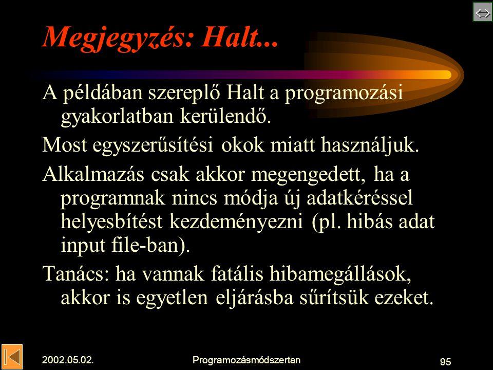  2002.05.02.Programozásmódszertan 95 Megjegyzés: Halt...