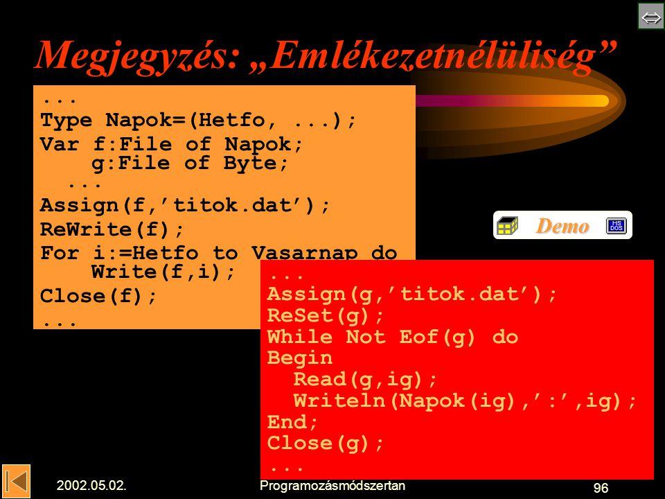 """ 2002.05.02.Programozásmódszertan 96 Megjegyzés: """"Emlékezetnélüliség ..."""