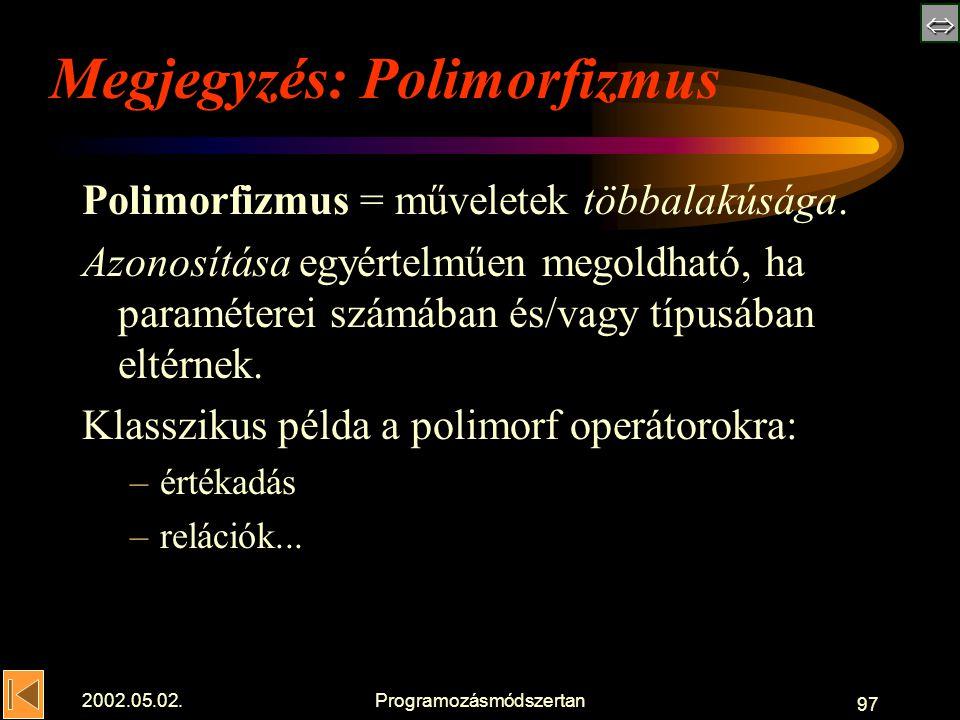  2002.05.02.Programozásmódszertan 97 Megjegyzés: Polimorfizmus Polimorfizmus = műveletek többalakúsága.