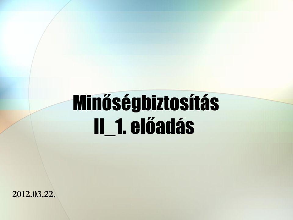 Minőségbiztosítás II_1. előadás 2012.03.22.