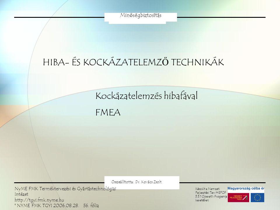 HIBA- ÉS KOCKÁZATELEMZŐ TECHNIKÁK Kockázatelemzés hibafával FMEA Minőségbiztosítás Készült a Nemzeti Fejlesztési Terv HEFOP 3.3.1 Operatív Programja keretében Összeállította: Dr.
