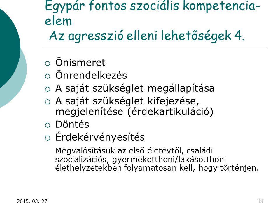 2015. 03. 27.11 Egypár fontos szociális kompetencia- elem Az agresszió elleni lehetőségek 4.