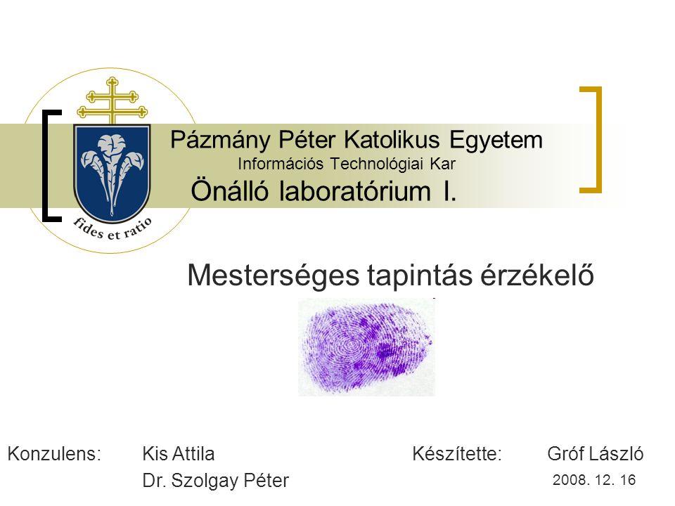 Pázmány Péter Katolikus Egyetem Információs Technológiai Kar Önálló laboratórium I.