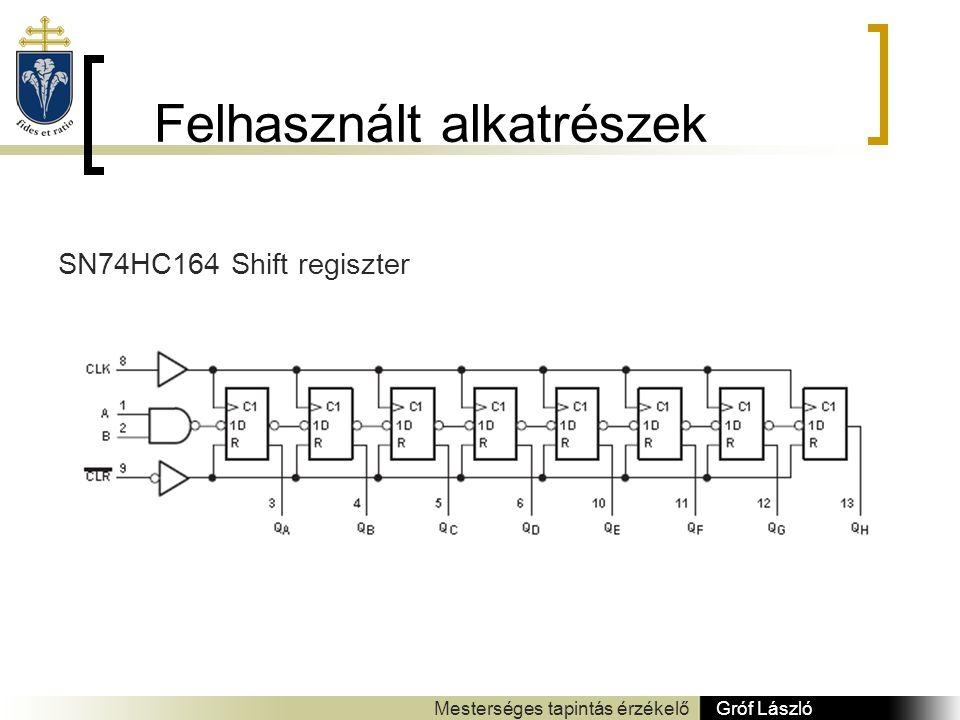 Felhasznált alkatrészek Gróf László Mesterséges tapintás érzékelő SN74HC164 Shift regiszter