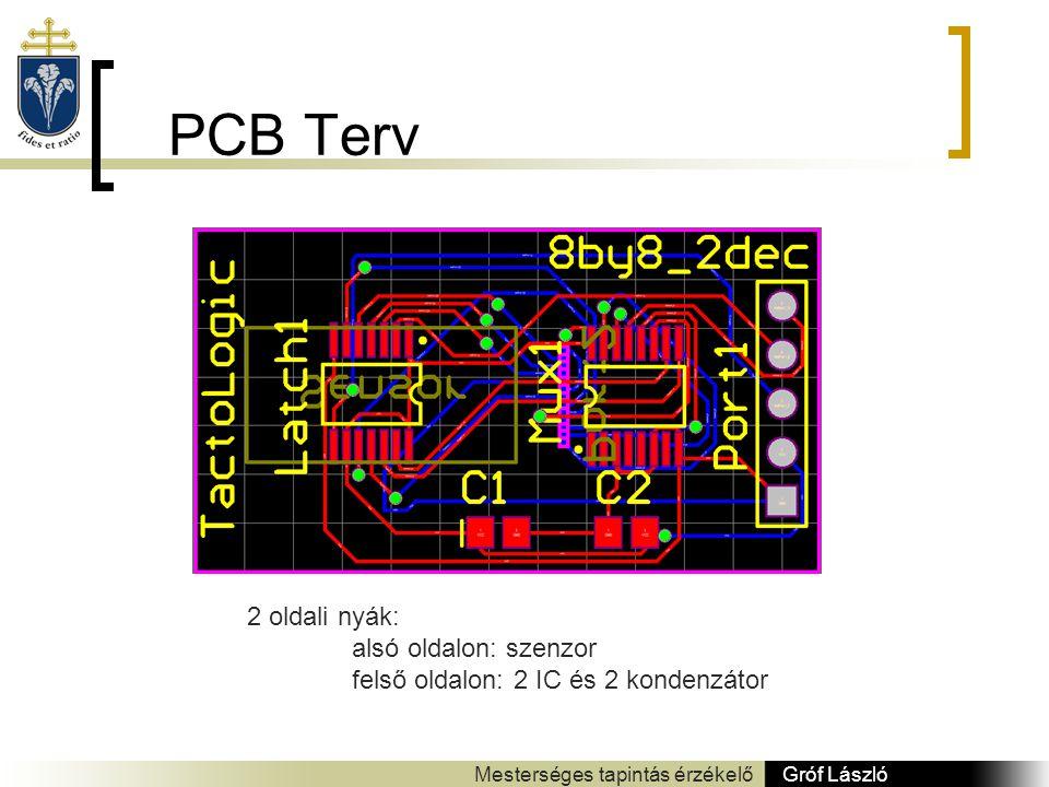 PCB Terv Gróf László Mesterséges tapintás érzékelő 2 oldali nyák: alsó oldalon: szenzor felső oldalon: 2 IC és 2 kondenzátor