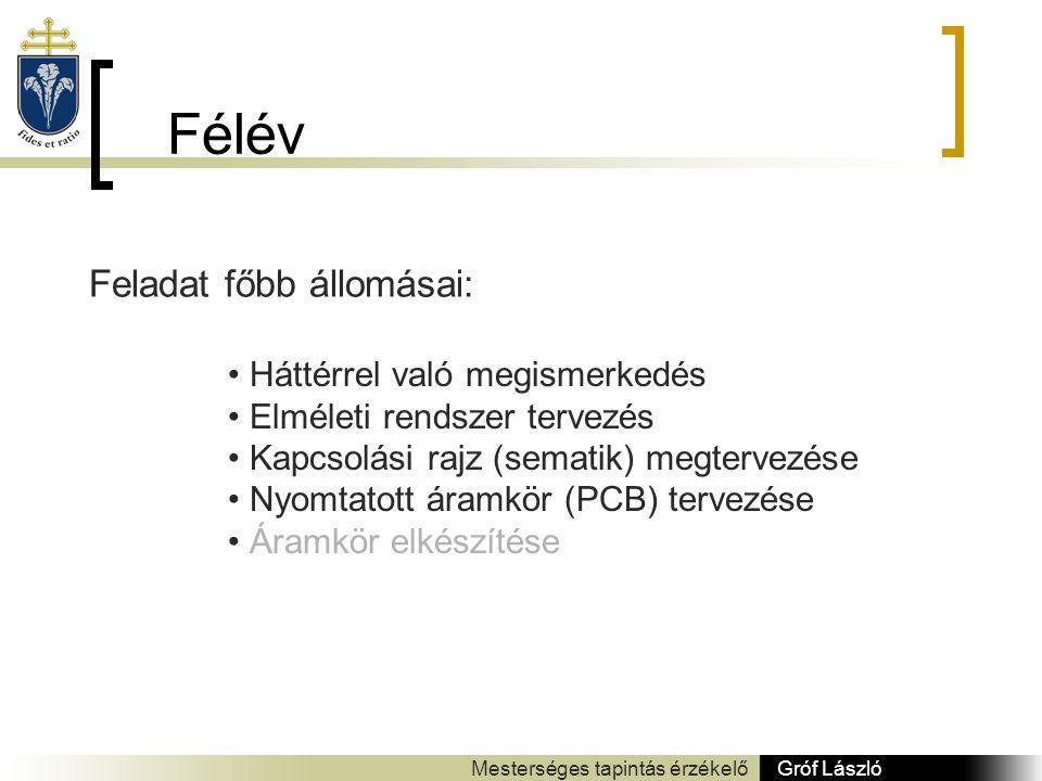 Félév Gróf László Mesterséges tapintás érzékelő Feladat főbb állomásai: Háttérrel való megismerkedés Elméleti rendszer tervezés Kapcsolási rajz (sematik) megtervezése Nyomtatott áramkör (PCB) tervezése Áramkör elkészítése