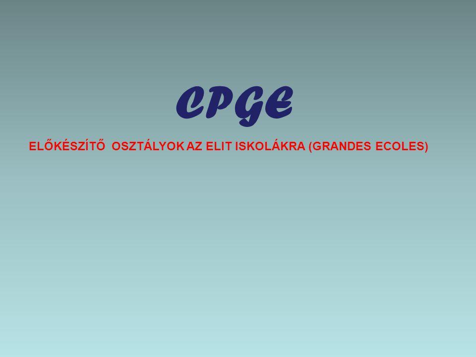 CPGE ELŐKÉSZÍTŐ OSZTÁLYOK AZ ELIT ISKOLÁKRA (GRANDES ECOLES)