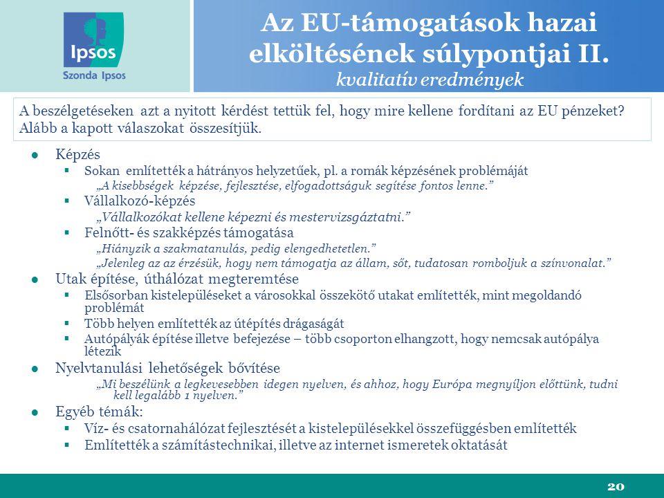 20 Az EU-támogatások hazai elköltésének súlypontjai II.