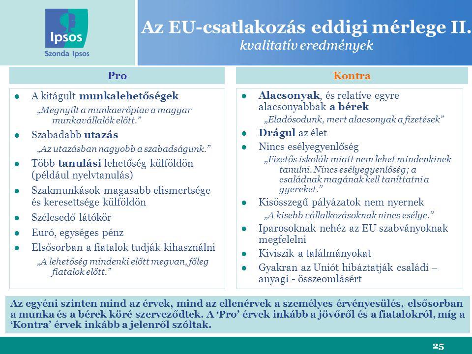 """25 Az EU-csatlakozás eddigi mérlege II. kvalitatív eredmények ●A kitágult munkalehetőségek """"Megnyílt a munkaerőpiac a magyar munkavállalók előtt."""" ●Sz"""