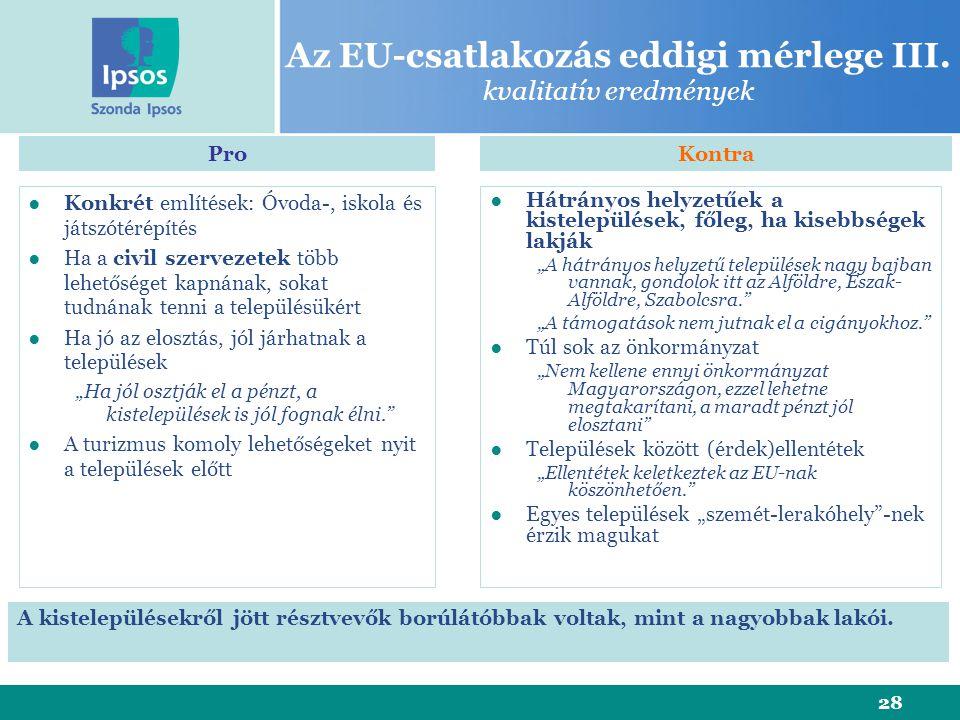 28 Az EU-csatlakozás eddigi mérlege III. kvalitatív eredmények ●Konkrét említések: Óvoda-, iskola és játszótérépítés ●Ha a civil szervezetek több lehe