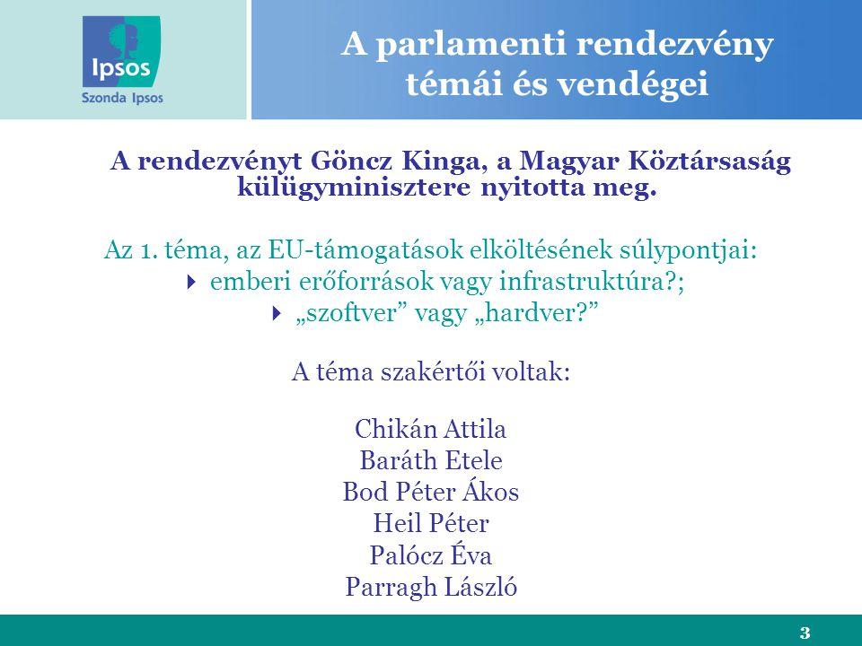 3 A parlamenti rendezvény témái és vendégei A rendezvényt Göncz Kinga, a Magyar Köztársaság külügyminisztere nyitotta meg. Az 1. téma, az EU-támogatás