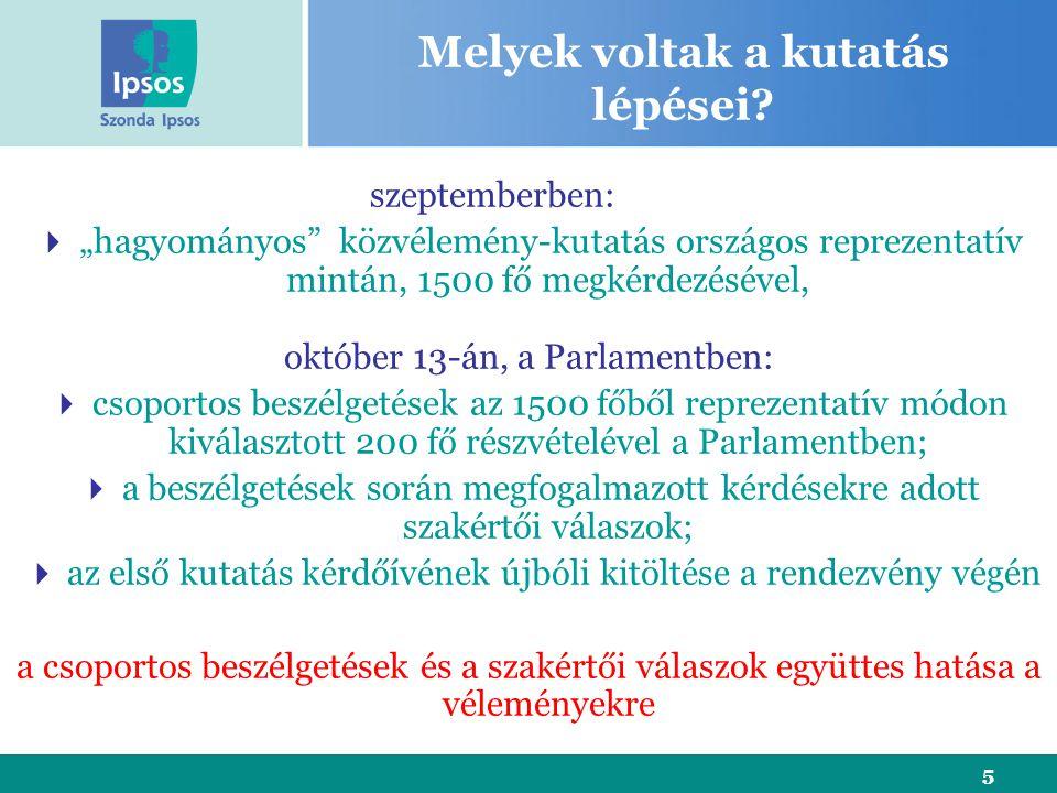 """5 Melyek voltak a kutatás lépései? szeptemberben:  """"hagyományos"""" közvélemény-kutatás országos reprezentatív mintán, 1500 fő megkérdezésével, október"""
