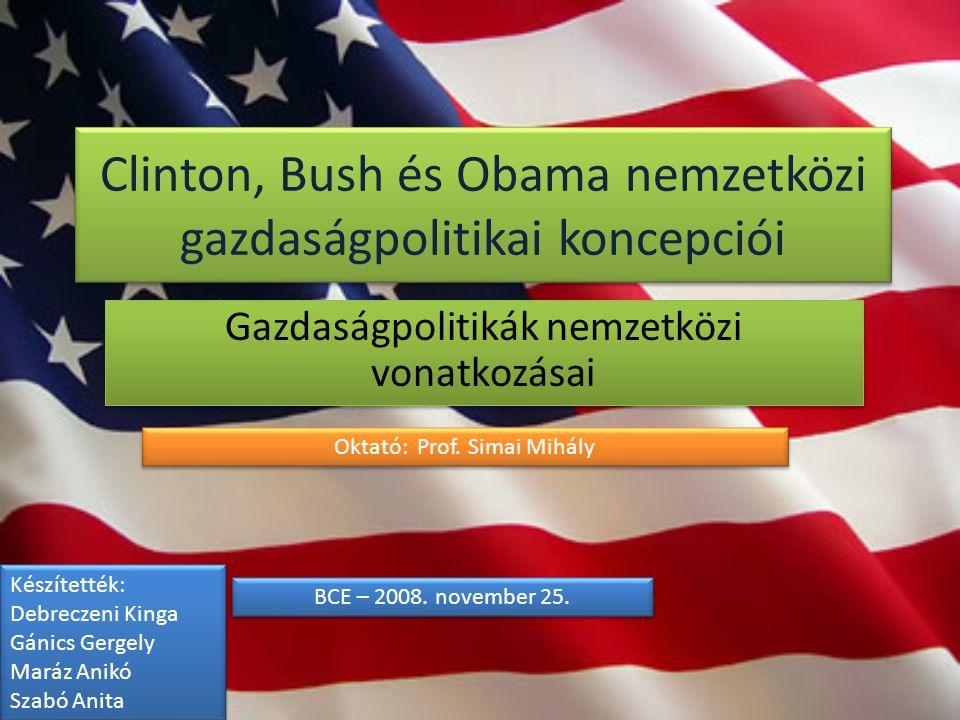 Tartalom 1.Az USA világgazdasági jelentősége röviden 2.Külpolitikai megalapozás (Irak, Oroszország) 3.Energiapolitikai vonatkozások 1.Olaj 2.Zöldenergia 4.Külkereskedelem 1.NAFTA, WTO 5.FDI-politika 6.Összefoglalás 2 William J.