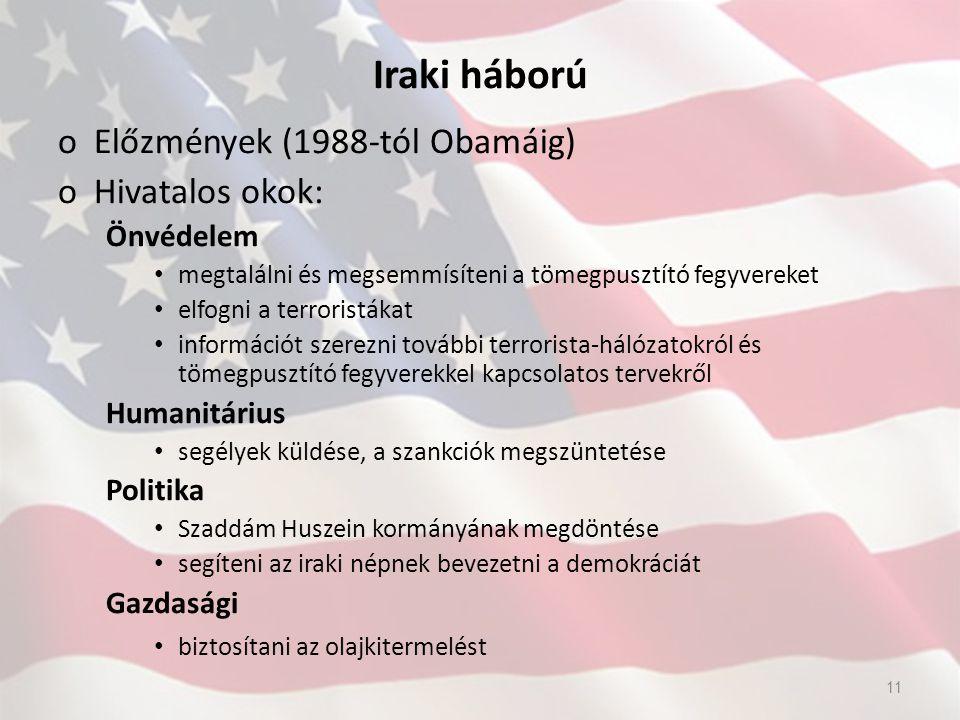 Iraki háború oElőzmények (1988-tól Obamáig) oHivatalos okok: Önvédelem megtalálni és megsemmísíteni a tömegpusztító fegyvereket elfogni a terroristáka