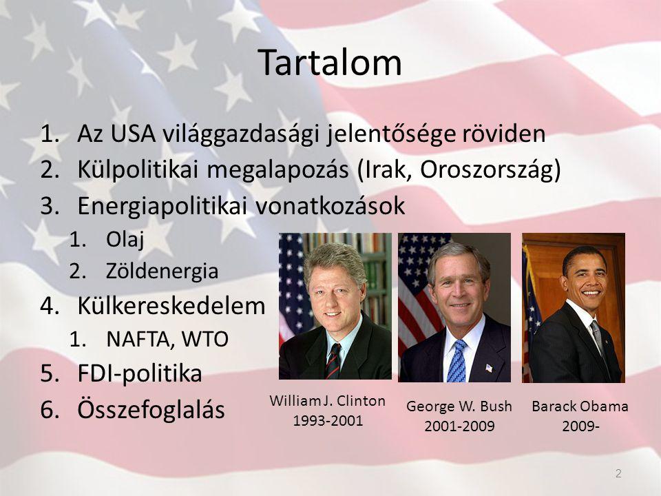 Tartalom 1.Az USA világgazdasági jelentősége röviden 2.Külpolitikai megalapozás (Irak, Oroszország) 3.Energiapolitikai vonatkozások 1.Olaj 2.Zöldenerg