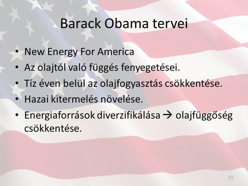 Barack Obama tervei New Energy For America Az olajtól való függés fenyegetései. Tíz éven belül az olajfogyasztás csökkentése. Hazai kitermelés növelés