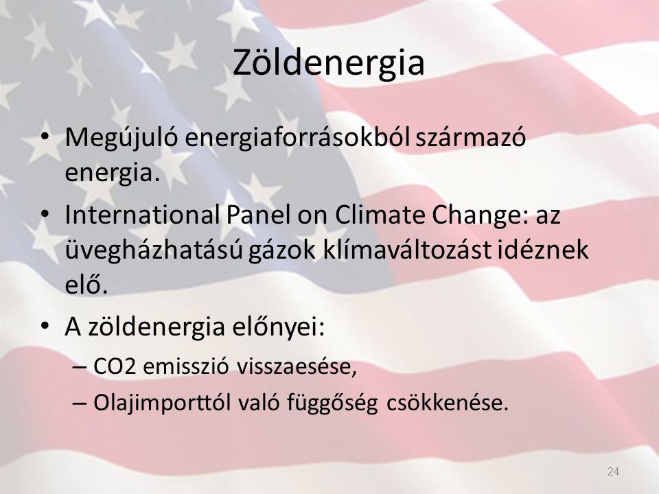 Zöldenergia Megújuló energiaforrásokból származó energia. International Panel on Climate Change: az üvegházhatású gázok klímaváltozást idéznek elő. A