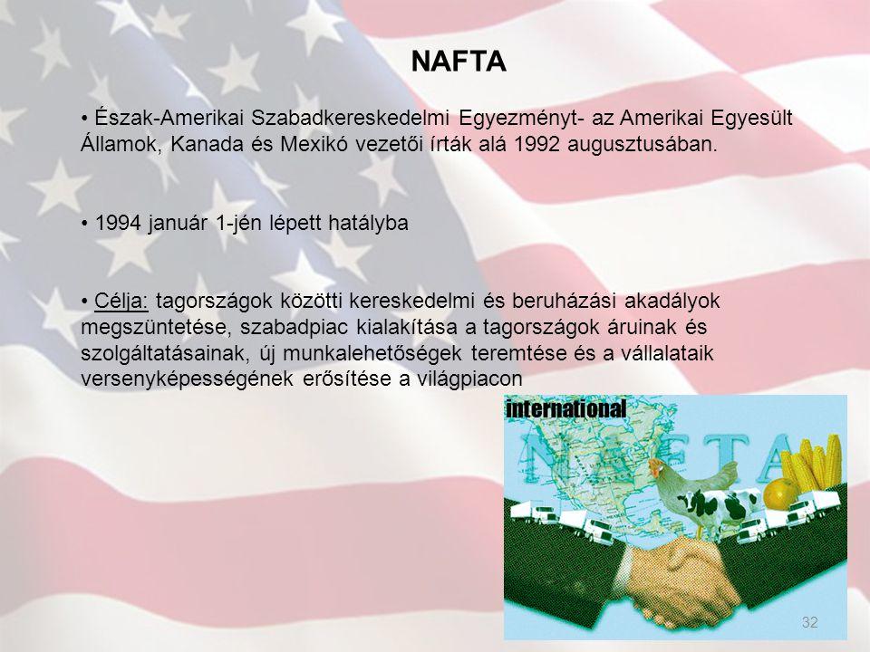NAFTA Észak-Amerikai Szabadkereskedelmi Egyezményt- az Amerikai Egyesült Államok, Kanada és Mexikó vezetői írták alá 1992 augusztusában. 1994 január 1