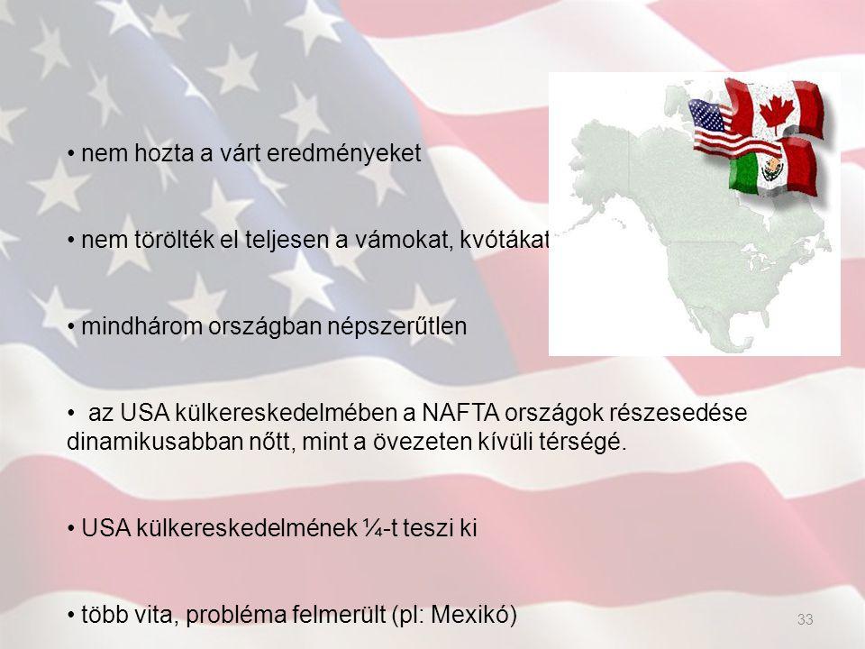 nem hozta a várt eredményeket nem törölték el teljesen a vámokat, kvótákat mindhárom országban népszerűtlen az USA külkereskedelmében a NAFTA országok