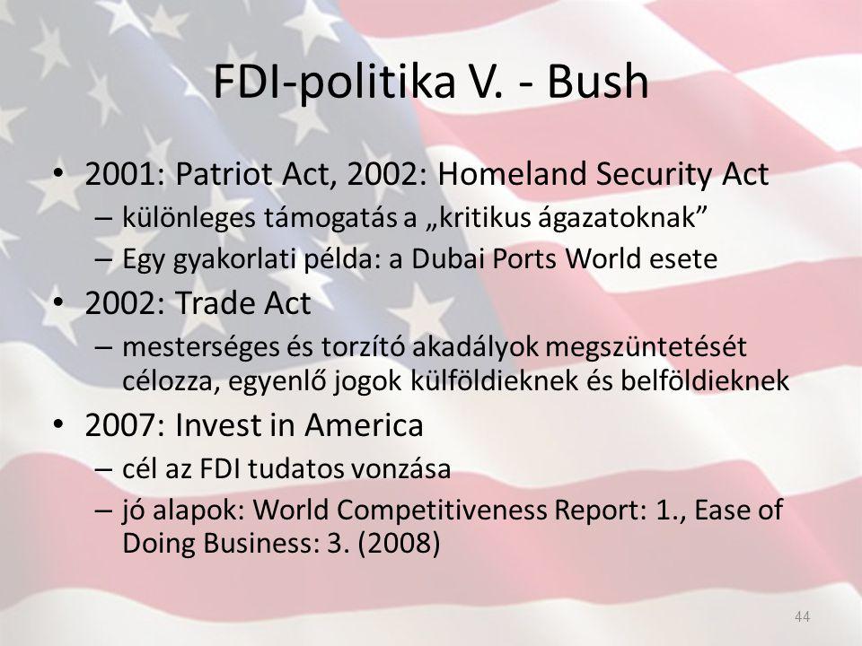 """FDI-politika V. - Bush 2001: Patriot Act, 2002: Homeland Security Act – különleges támogatás a """"kritikus ágazatoknak"""" – Egy gyakorlati példa: a Dubai"""
