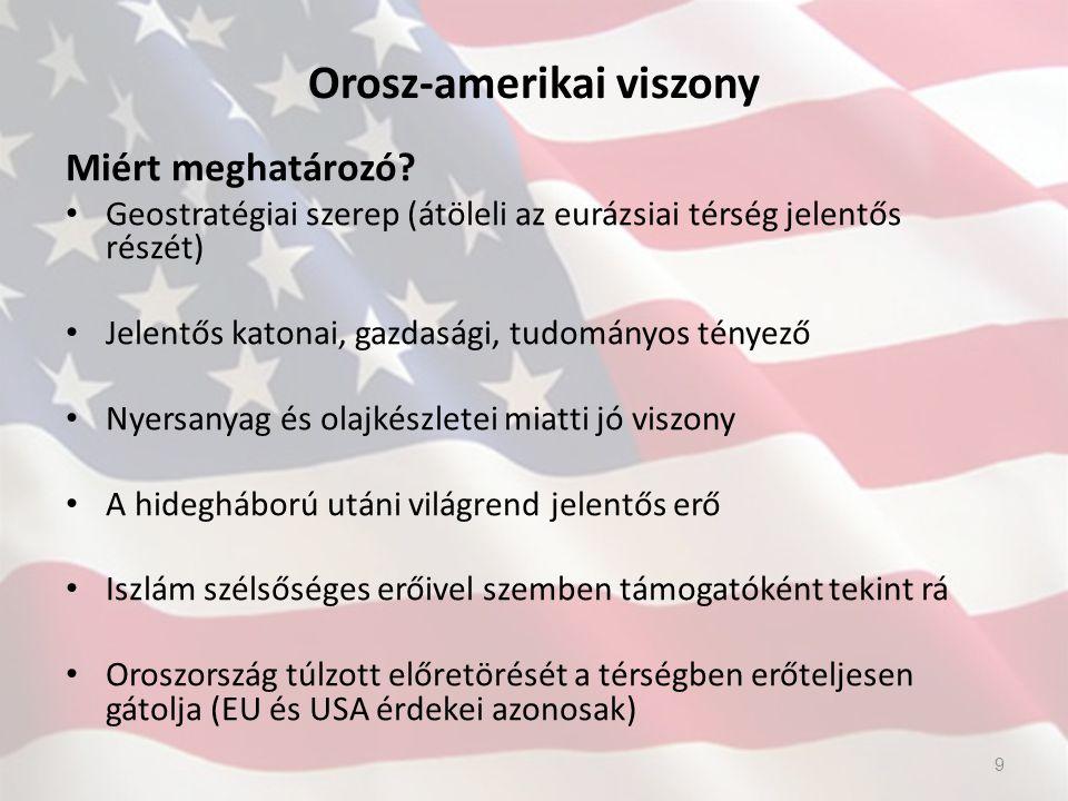 Orosz-amerikai viszony Miért meghatározó? Geostratégiai szerep (átöleli az eurázsiai térség jelentős részét) Jelentős katonai, gazdasági, tudományos t