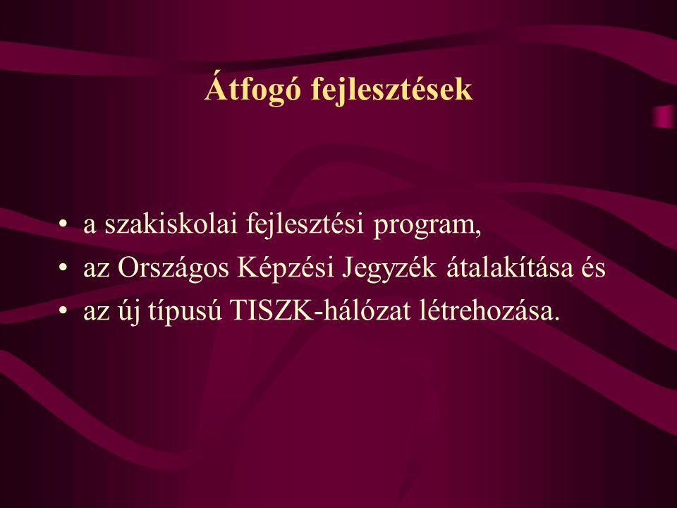 Átfogó fejlesztések a szakiskolai fejlesztési program, az Országos Képzési Jegyzék átalakítása és az új típusú TISZK-hálózat létrehozása.