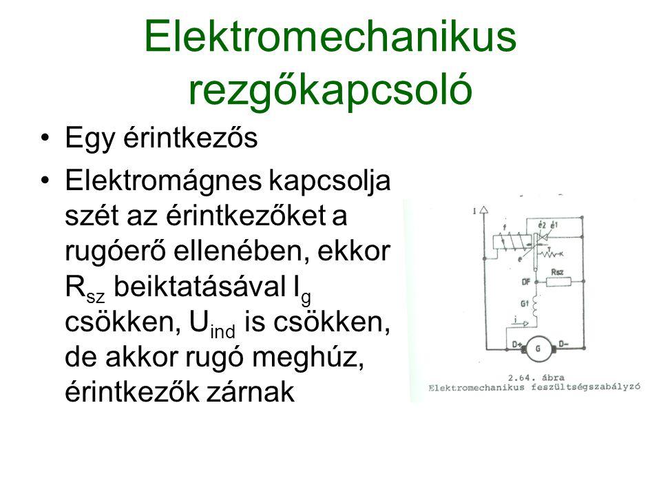 Elektromechanikus rezgőkapcsoló Egy érintkezős Elektromágnes kapcsolja szét az érintkezőket a rugóerő ellenében, ekkor R sz beiktatásával I g csökken,
